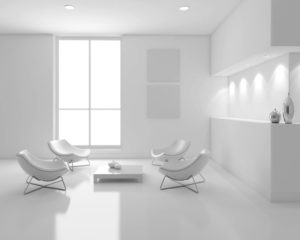 white living room with modern seating
