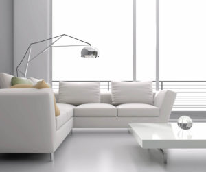 white modern living room with sectional seating