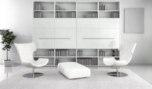 white minimalist living room with two modern chairs and bookshelf