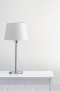 lamp on the table with white wall background