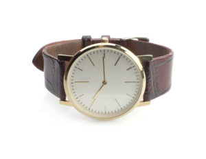 Close up of wrist watch isolated on a white background