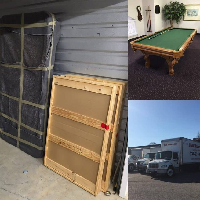 pool table being moved out of home
